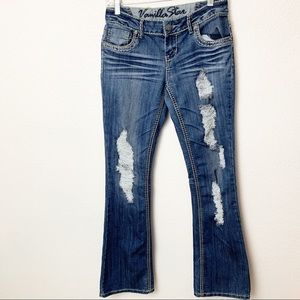 Vanilla Star Juniors Distressed Jeans Size 5